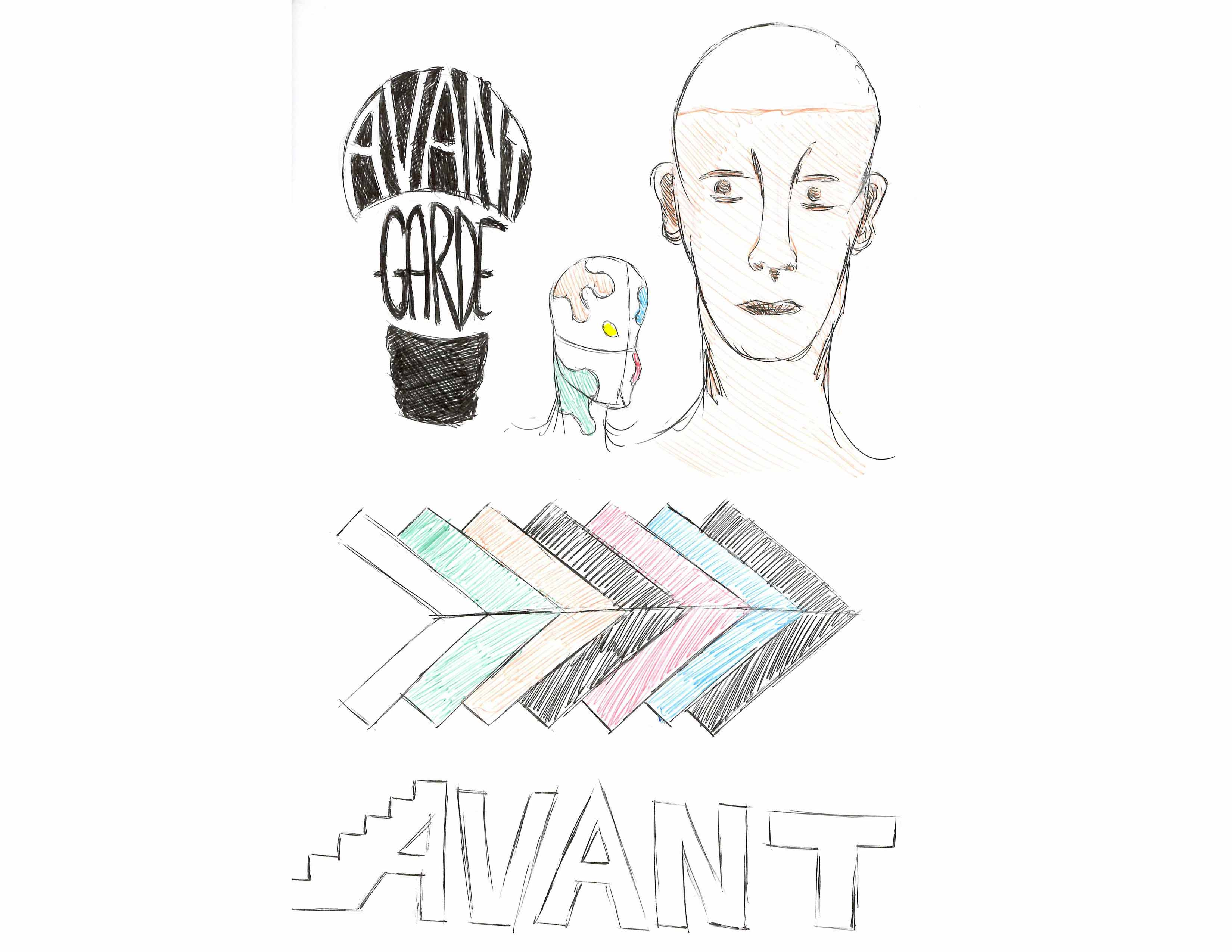 The second round of the Avant-Garde logo sketches